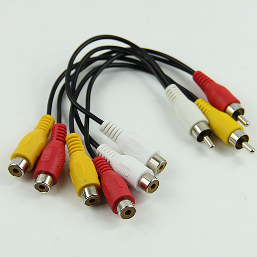 New 3 RCA Male Jack to 6 RCA Female Plug Splitter Audio Video AV Adapter Cable #4XFC#Drop Shipping