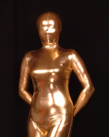 Cosplay Gold Full Body Spandex/lycra Latex Rubber Zentai Suit Catsuit Costume Customsize Adult Size