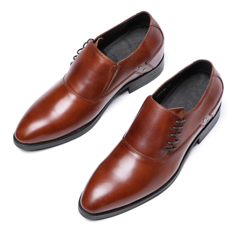 052ed97da1e1 New Fashion Loafers Shoes Men Pointed Toe Banque Wedding Shoes Male Lace Up  Men Genuine Leather
