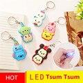 2016 Hot Sale Cartoon Tsum Tsum LED Light Stitch Mouse Duck Bear Keychain Pendant Toys Anime Brinquedos 5pcs/lot