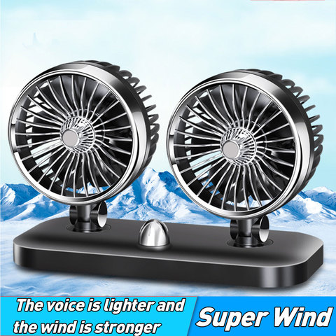12V/24V Car Auto Air Cooling Fan 2 Speed Adjustable Dual Head Fan Low Noise Car Auto Cooler Air Fan Caravans Car Fan Accessories Pakistan