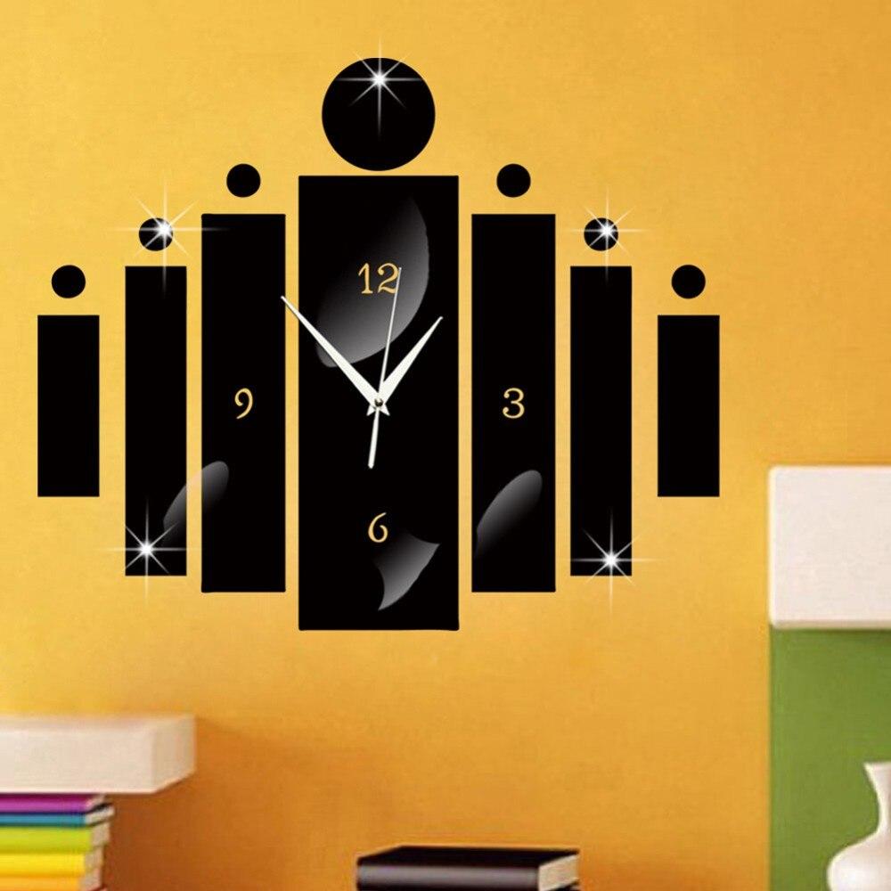 2017 Wall Clock Sticker Home Modern Decoration 1 Set Black Silver ...