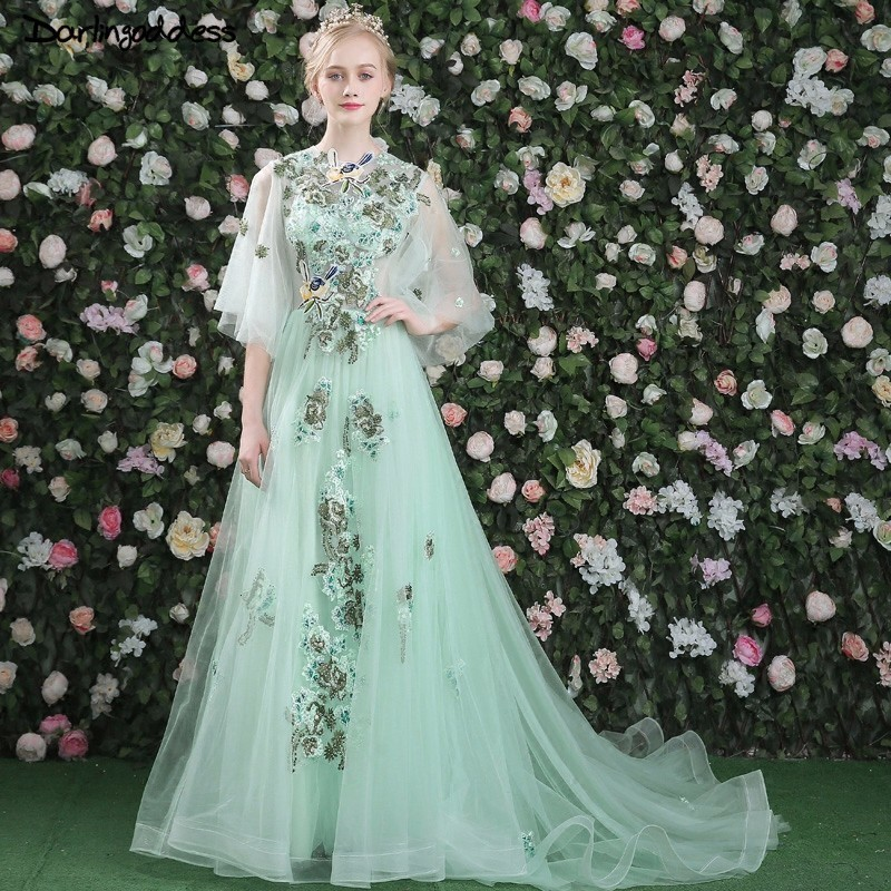 Risque Wedding Dress Photos: Aliexpress.com : Buy 2018 New Light Green Half Sleeves