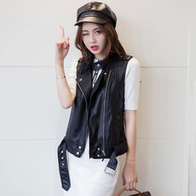 Women's Autumn and spring vest leather clothing slim short leather PU jacket vest coat