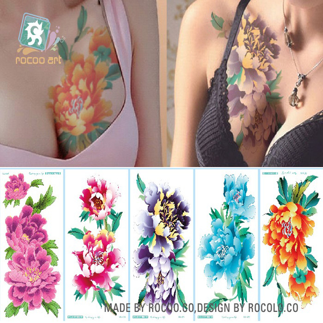 0dfafa748 Rocooart Large Flowers Tattoo Chest Arms Taty Tiger Rose Fake Tattoo  Chrysanthemum Tatuajes Watercolor Temporary Tattoo