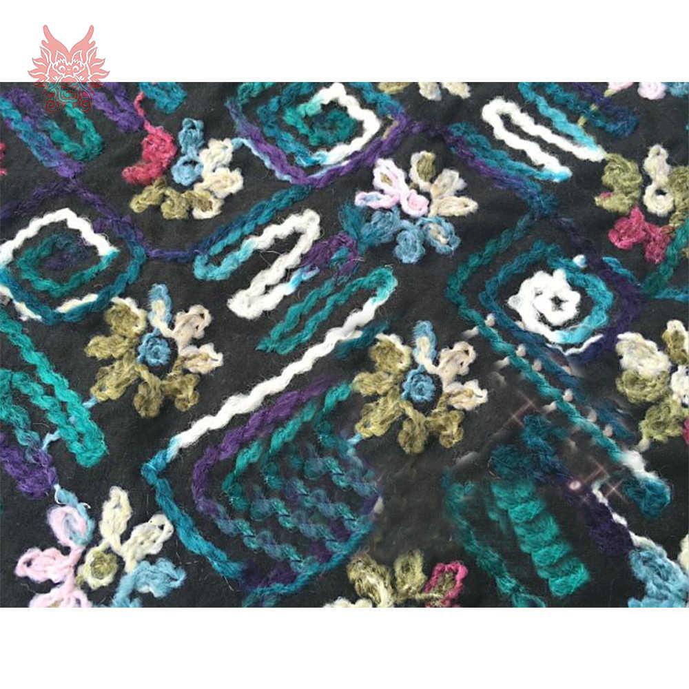 Синяя фиолетовая Цветочная Вышитая шерстяная ткань для зимнего пальто платье плотная смешанная ткань поплин tela tejido для шитья SP4273