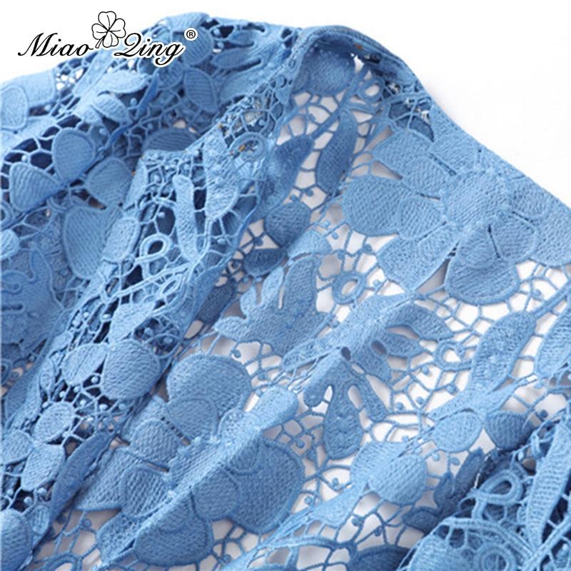 2019 Miaoqing Mode Bleu Manteau Longues Manches Creux Bandage Vintage Cardigan Sexy Streetwear Printemps Vestes Dentelle Femmes Vêtements dr61qrvw