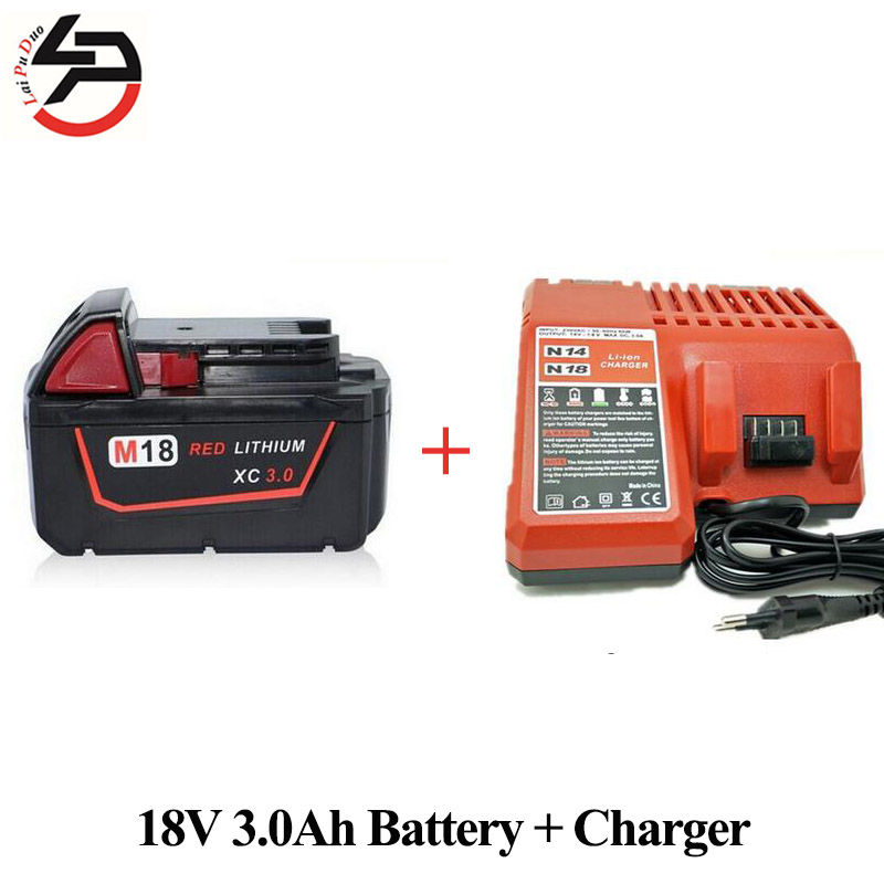 18V Li-Ion 3000mAh Replacement Power Tool Battery for Milwaukee M18 XC 48-11-1815 M18B2 M18B4 M18BX Li18 With Power Charger 1 pc li ion battery replacement charger for bosch 10 8v 12v bc430 bat411 bat412 bat413 cordless tool battery vhk20 t30