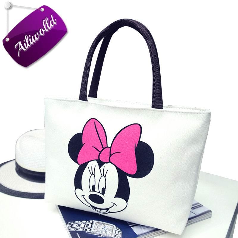 2017 New Women's Handbags Fashion Shoulder Bags Messenger Bag Cute Cartoon Pattern Mickey Hello Kitty Tote Shopping Bag Bolsas