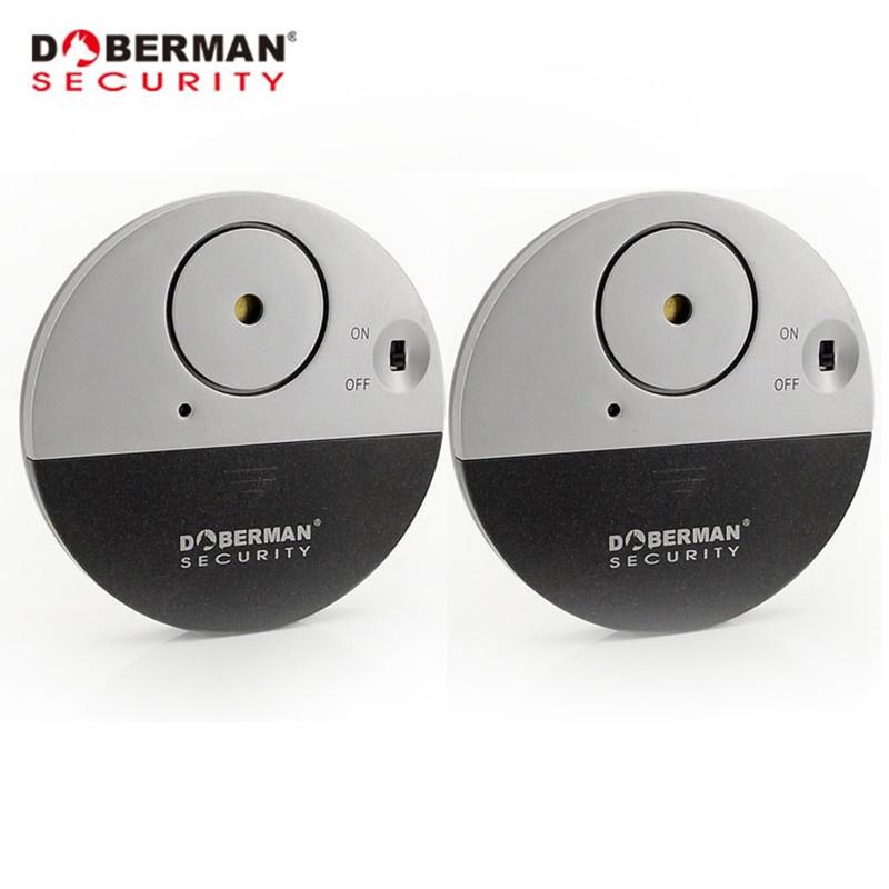 Doberman Security Door Window Vibration Alarm For Warning Burglars Intruders 2Pcs Pack Home Alarm 100dB Strong Alarm Sound