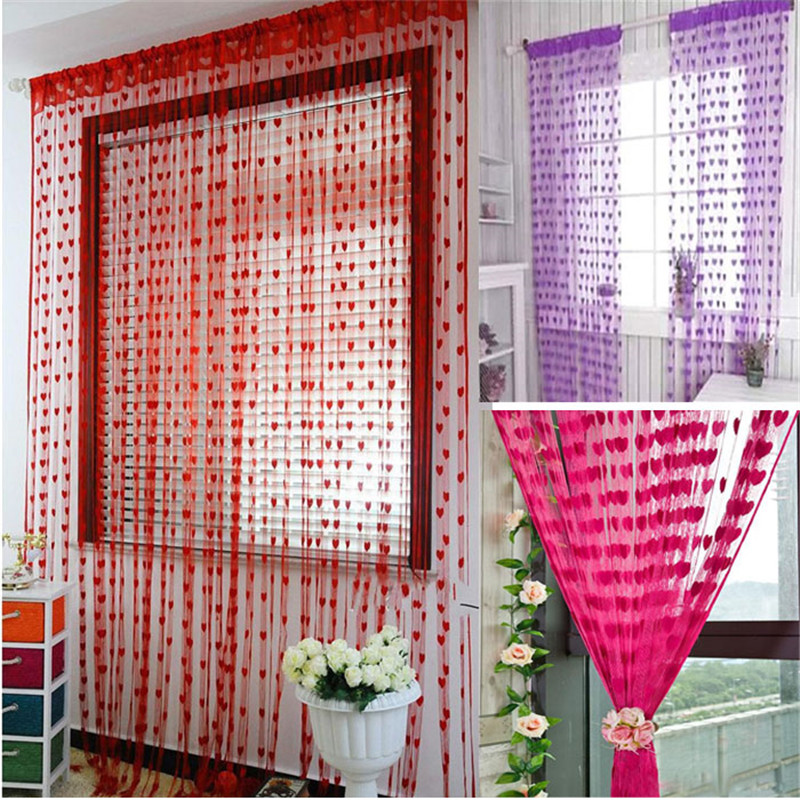 Cute Style Heart Design Home Decoration Modern Tassel Curtain Tulle Fabrics Organza Sheer Panel Curtain Valance  @Q