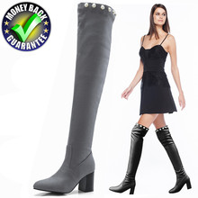 New Winter Boots Women Warm Over The Knee High Boots Woman Shoes High Heel Boot Long New Flock Leather Fashion Sexy Female Thigh недорого
