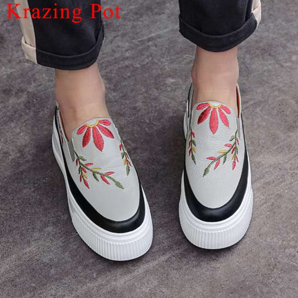 2019 newest cow leather beauty embroidery thick high bottom slip on slip on young girls casual shoes woman vulcanized shoes L8f5
