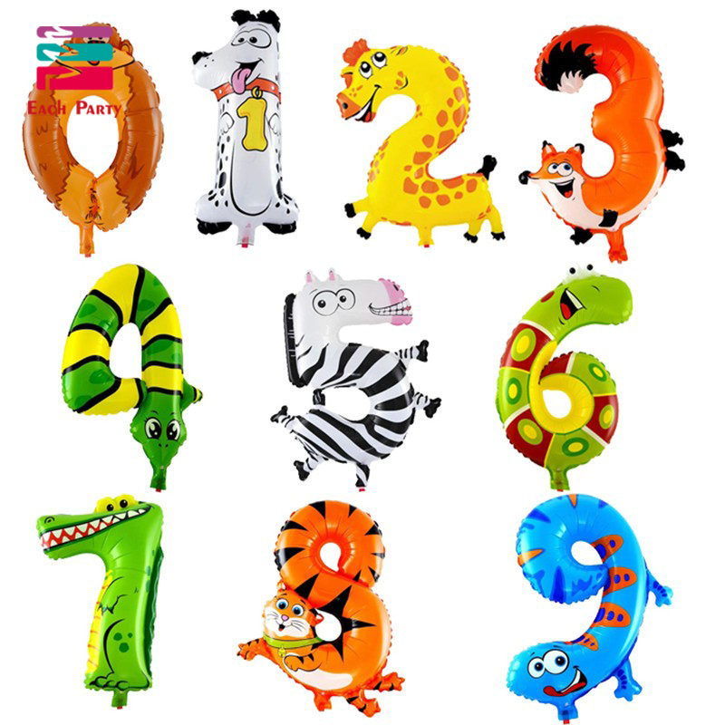 Animal Number Foil Balloons Kids Birthday Air Balloon Wedding Decorations Numbers Ballons Children Toys Party Supplies