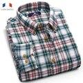 Langmeng 100% cotton Hot sale Autumn winter thermal warm shirt mens long sleeve flannel casual shirts plaid cotton dress shirt
