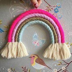 Decoração do quarto do bebê macrame artesanal trançado arco-íris tapeçaria de parede de malha com borla arte caçoa decoração do quarto presente