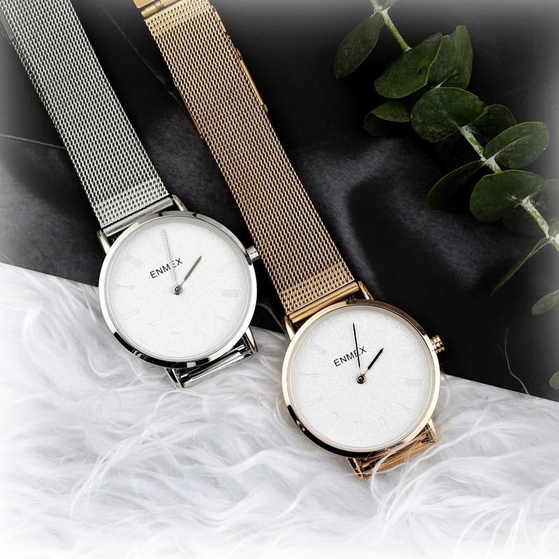 2019 Ladies Gift Ultrathin Case Watch Enmex Simple Design  Steel  Brief Face Gloden Plating Quartz Fashion Wristwatch