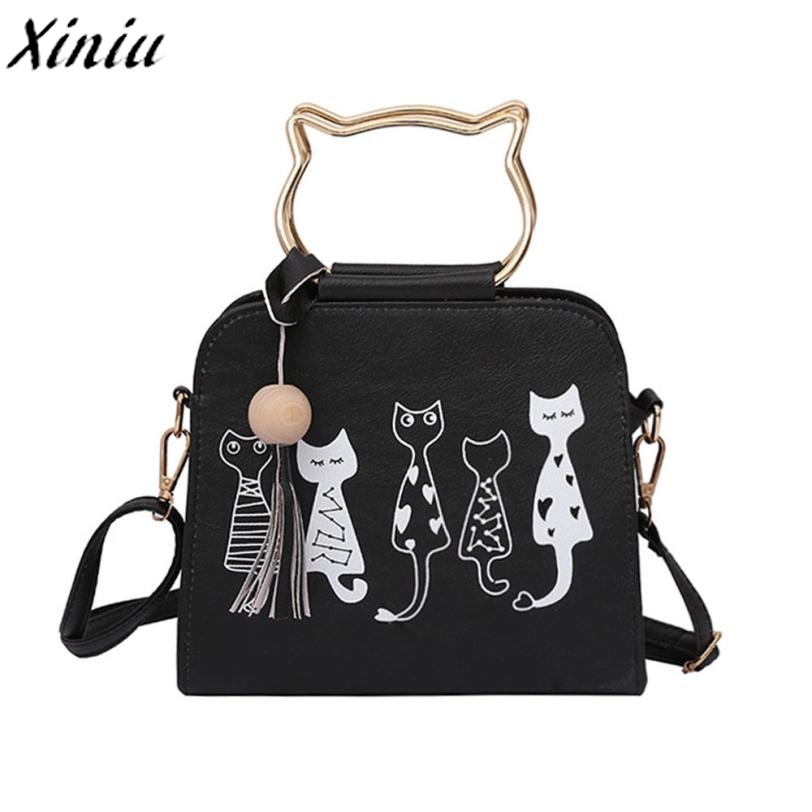 Handbags Women Leather Animal Pattern Tassel Pendant Messenger Bag Female Kawaii Cat Shoulder Bag Sac A Main @7214