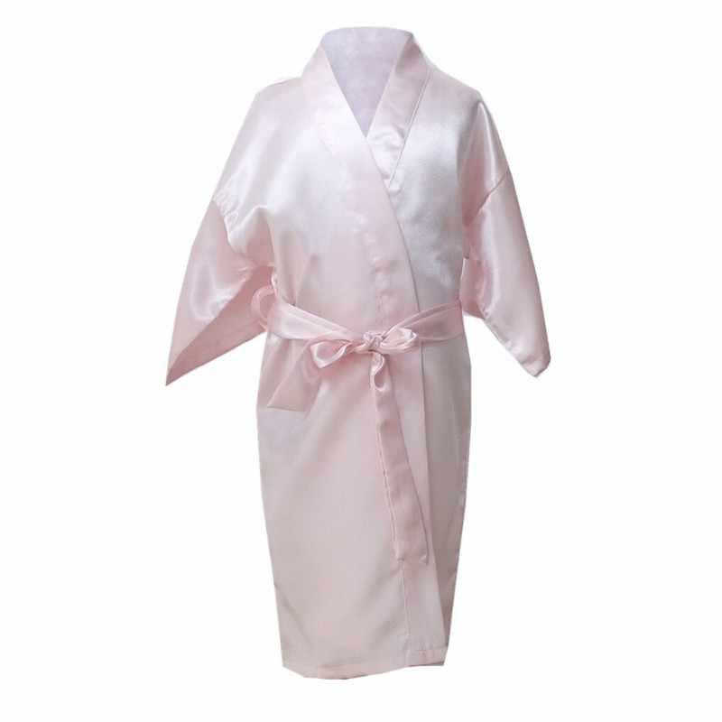 ילד תינוק בנות הלבשת חלוק רחצה גלימות קימונו סאטן משי חתונת הילדה פרח שמלת הלילה