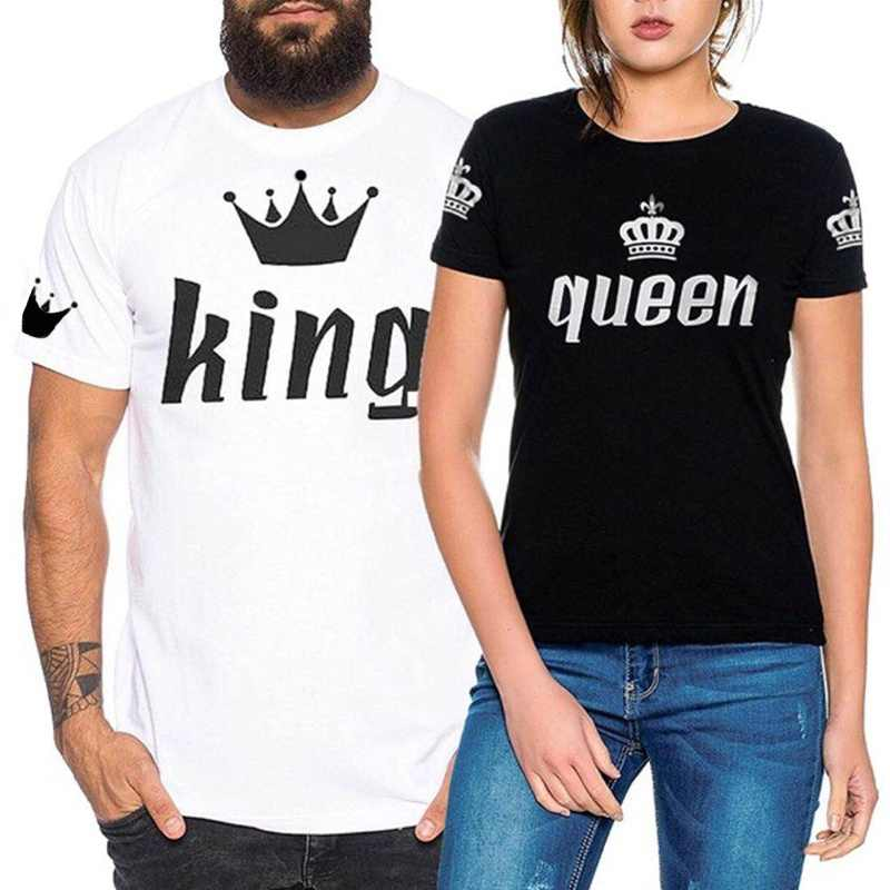 1cecf751a T-shirt Men And Women Fashion Casual Couples Nobility Imperial Crown  Printing King Queen Short