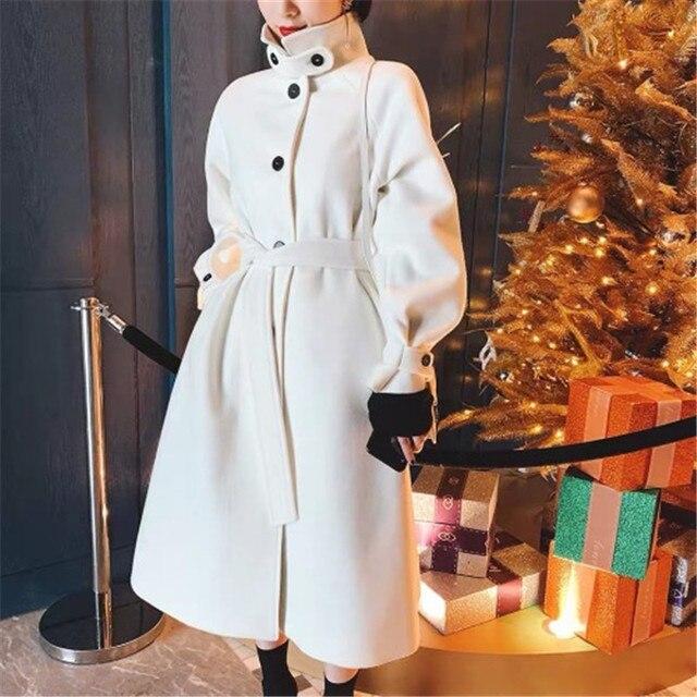 Женское длинное шерстяное Свободное пальто 2019 Новое весеннее приталенное пальто женский топ