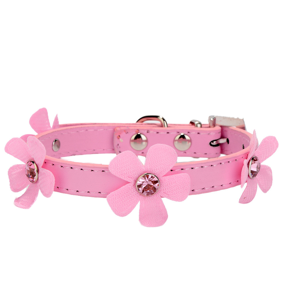 Rhinestone PU Leather Cat Dog Collars Pink for Small Medium Dogs Chihuahua 4 Colors Size XS S M L #20