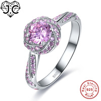J C 2 Colors Beauty Flower Style Sapphire Pink White Topaz 925 Sterling Silver Ring Size