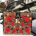 Diseño de moda de lujo de edición limitada de oro brown leopard hollow flores de acrílico de las señoras bolso de hombro mini bolso del mensajero