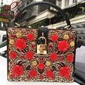 Luxury fashion design limited edition golden brown leopard hollow flowers acrylic ladies handbag shoulder bag mini messenger bag