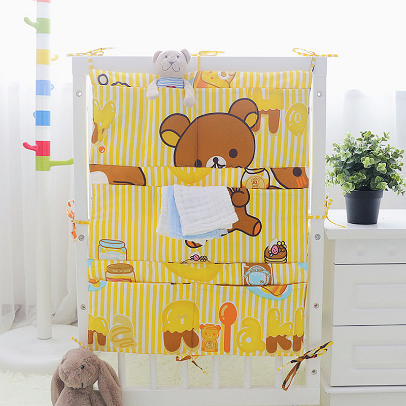 1PC Baby Bed Nursery Hanging Storage Bag, Cotton Baby Cot Bed Crib Toy Diaper Organizer, Storage Bag Pocket For Crib Bedding Set