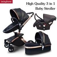 Babyfond Детские коляски 3 в 1 ЕС Высокое качество безопасности 2 в 1 Детские коляски с автокресло кожа алюминиевый сплав рамки бренд