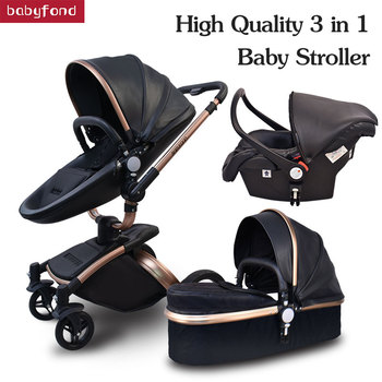 Babyfond baby strollers 3 in 1 EU high quality safety 2 in 1 baby strollers with car seat leather aluminium alloy frame brand цена 2017