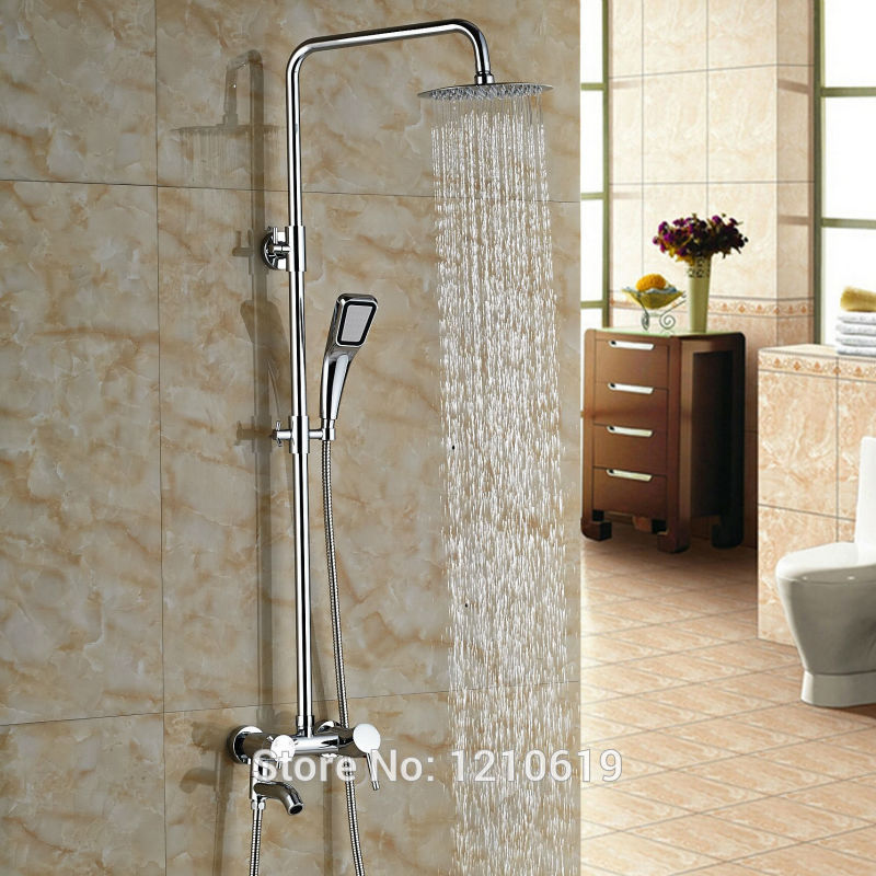 Newly Bathroom Shower Faucet Set w/ Hand Spray Head Chrome 8 Shower Tub Mixer Tap Single Handle