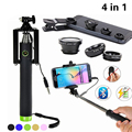 2017 4in1 Phone Camera Lens Kit 3in1 Fish Eye Wide Angle Macro Lentes Selfie Stick Monopod For iphone 5 6 6s 7 Sumsung S6 Huawei
