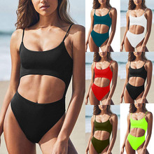 цена на Women Solid Scoop Neck Cut Out Front Lace Up Back High Cut Monokini Push Up Padded Swimsuit Bikini 2019 Mujer