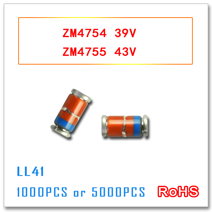 ZM4754 ZM4755 39V 43V 5000pcs 1000PCS LL41 1W ZM4754A ZM4755A 4754 4755 3.3v-47v smd  1N4754 1N4755 IN4754 IN4755 бра leds c4 funk 05 4755 ci 23