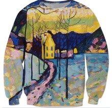 """Unisex Voller Druck Sweatshirt Hoodie Malerei Kandinsky """"Winter Landschaft"""" Herren sweatshirt hohe qualität jumper tops"""