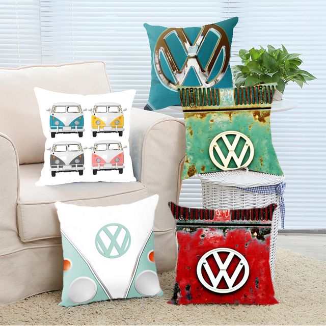Hot Sellers VW Retro (two sides)Throw Pillow Cases Free Shipping  Cover for 12×12 14×14 16×16 18×18 20×20 24×24 inch