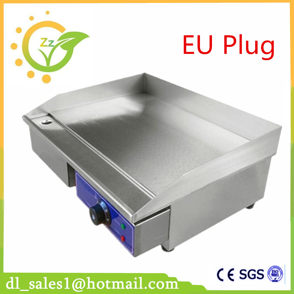 Newest 220V Commercial Griddle Electric With Thermostat Electric Griddle Flat Plate ru stock electric griddle barbecue griddle machine with half flat plate half groove plate double temperature controllers