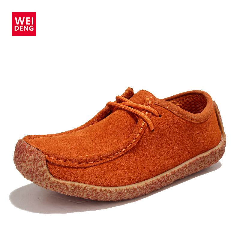 WeiDeng Genuine Leather Cow Suede Flats Leisure Soft Breathable Non Slip Women Lace Up Rubber Casual Gifts For Women Shoes 2017 patchwork lace up rubber sole canvas shoes breathable super leisure women casual shoes with flats student shoes rm 05