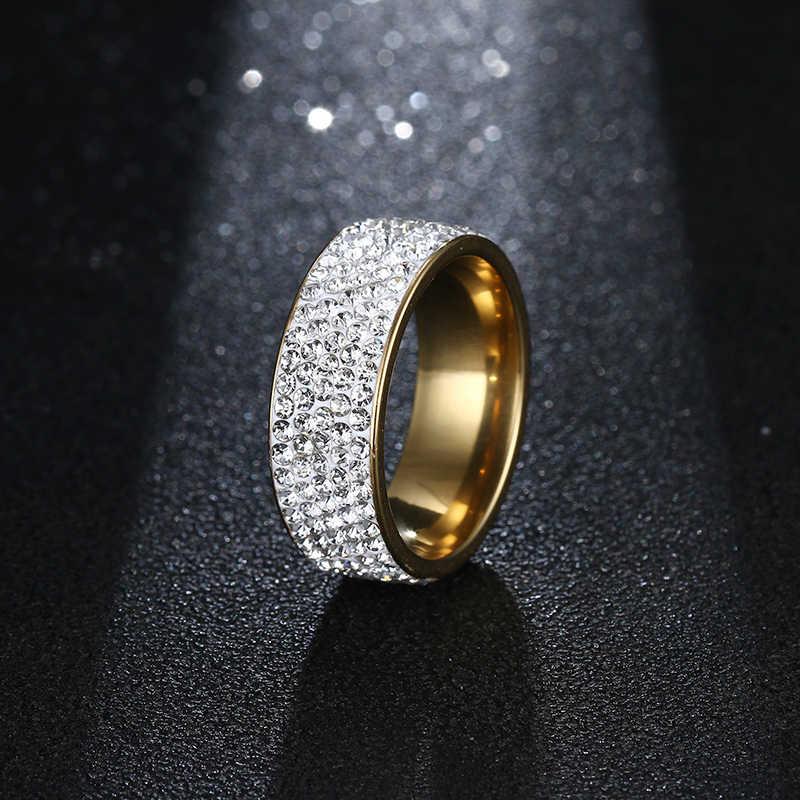 CACANA แหวนสแตนเลส 8 มม.rhinestone สำหรับผู้หญิงหรูหราวรรคที่กำหนดเองแฟชั่นเครื่องประดับ