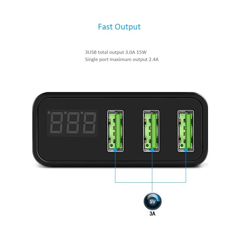 INGMAYA USB-laddare 3-port LED-skärmladdning 2.4A för iPhone iPad - Reservdelar och tillbehör för mobiltelefoner - Foto 4