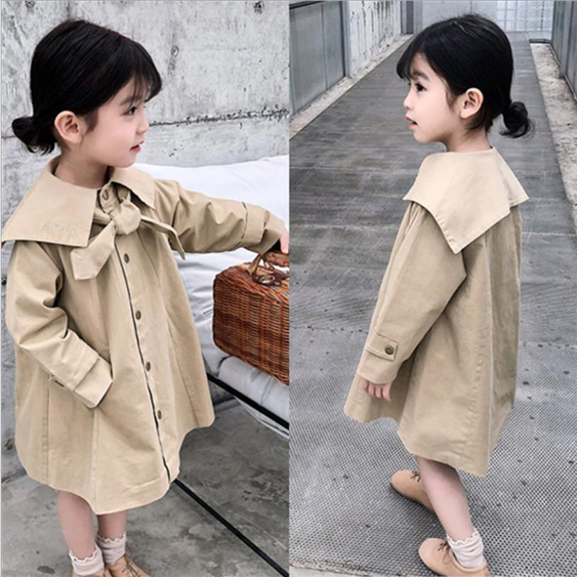 2019 spring autumn new preppy style   trench   coats baby girls long sleeve loose outerwear teenage tops for children clothes ws920