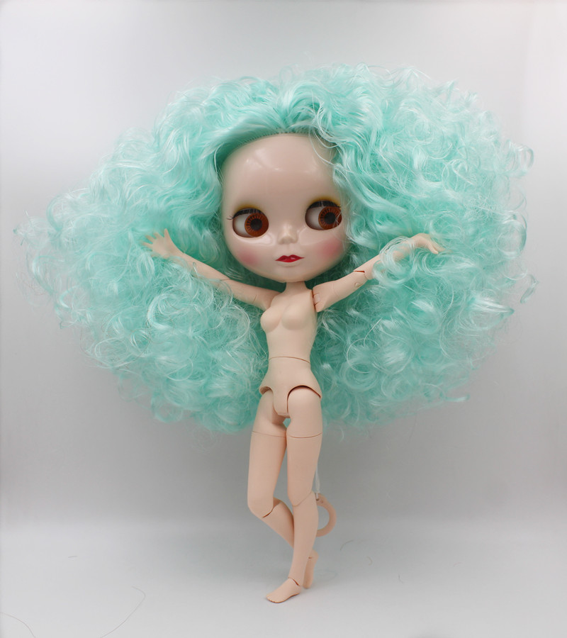Blygirl,Blyth doll,Turquoise burst curls, nude dolls, 1/6 body, 19 joint body, can be worn for her clothes and makeup