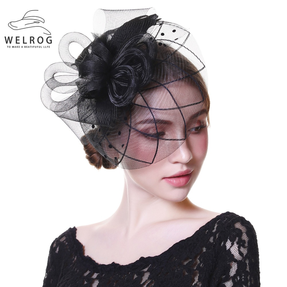 WELROG Fascinators Hat Women Flower Mesh Ribbons Feathers Fedoras Hat Headband Or A Clip Cocktail Tea Party Headwewar For Girls