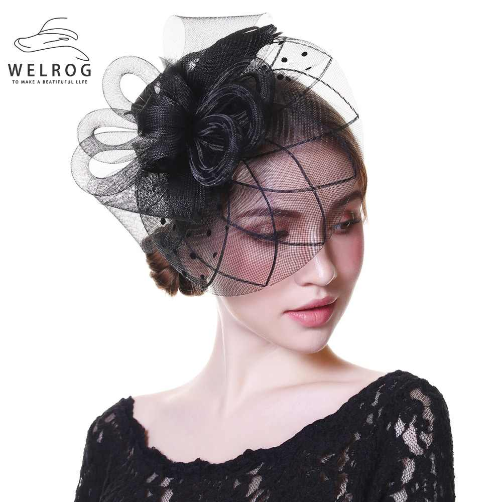 6303f867d94 Detail Feedback Questions about WELROG Fascinators Hat Women Flower Mesh  Ribbons Feathers Fedoras Hat Headband or a Clip Cocktail Tea Party  Headwewar for ...
