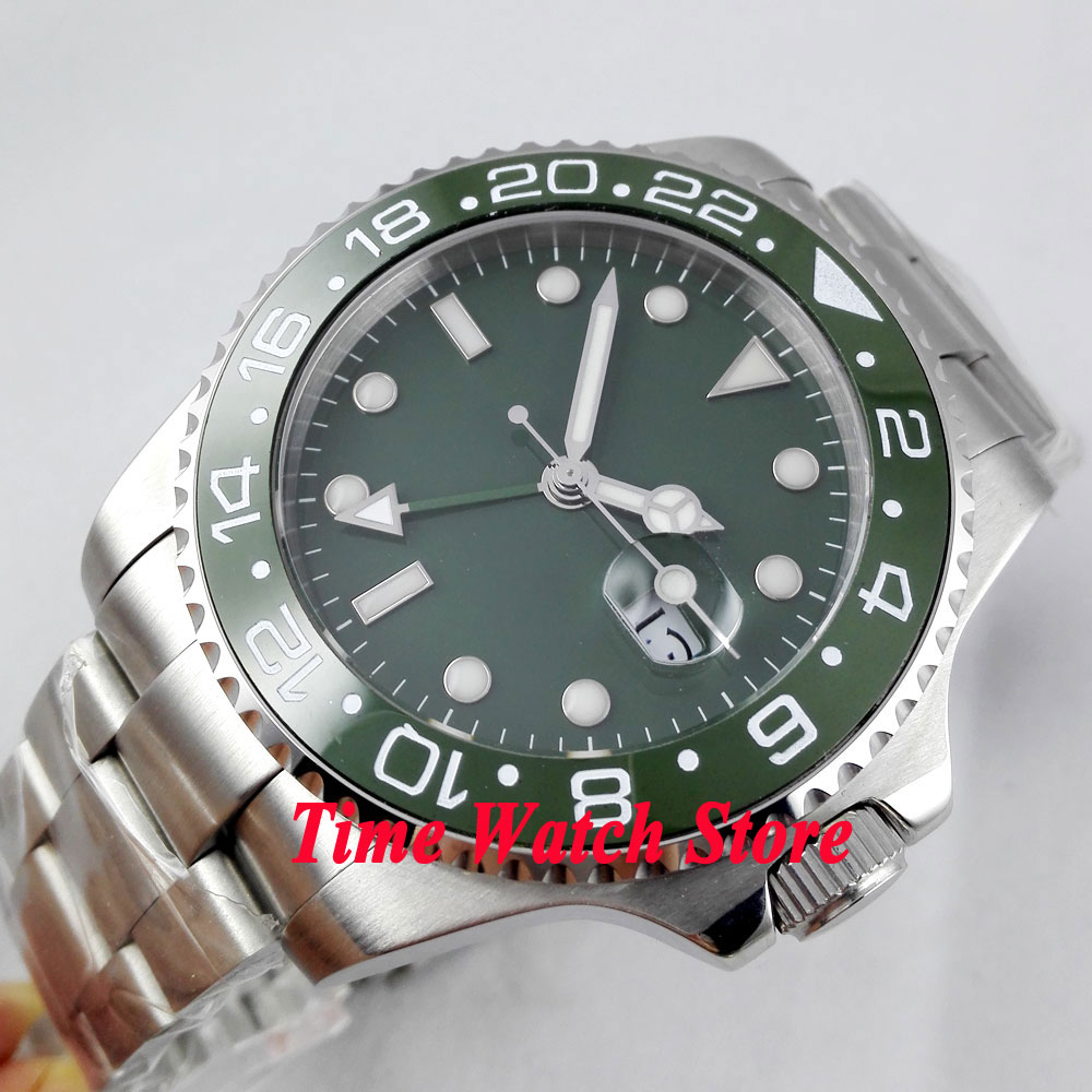 Bliger 43mm green Sterile dial GMT green Ceramic Bezel sapphire glass Automatic movement Men's watch 295 цена и фото