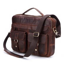 2018 Casual Genuine Leather Men's Briefcase Brown Messenger Bags Large Capacity Business Men Travel Bags Small Laptop Handbags недорого