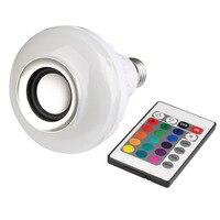 E27 sem fio Bluetooth Controle Remoto Mini Smart LED Speaker Áudio RGB Cor Luz Quente Lâmpada Lâmpada Música