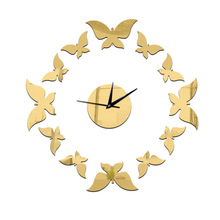 New Environmental Protection Crystal Technology Clock Mirror Quartz Clock Whipped Up The Butterfly Group Stereo Clock